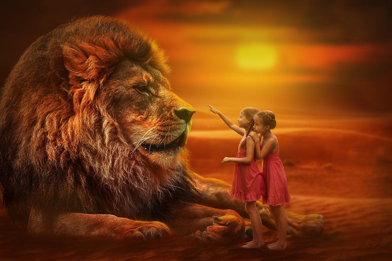 tableau lion